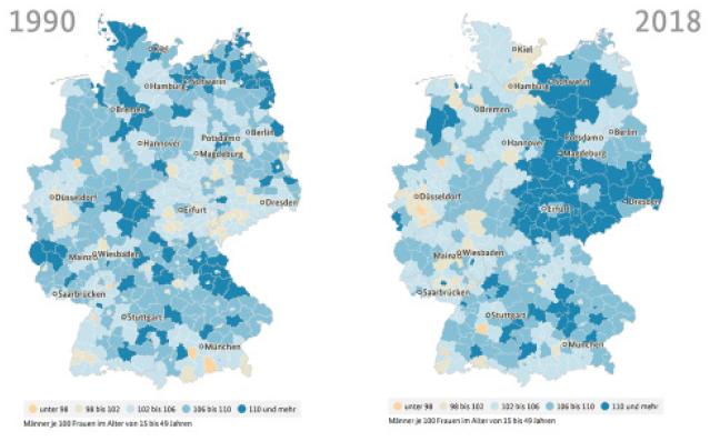 """30 Jahre Deutsche Einheit und Vielfalt: """"Männerüberhang"""" in manchen Ost-Regionen"""