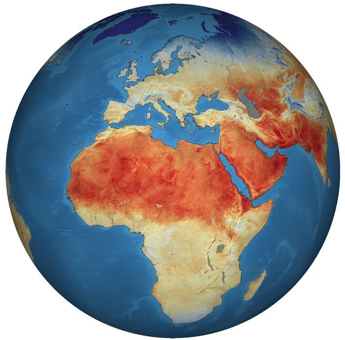 Globale Oberflächentemperaturen der Landmassen. Credit: ESA/enthält modifizierte Copernicus Sentinel Daten (2018), prozessiert von ESA